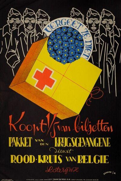 Vergeet ze niet. Koopt 1/5 van biljetten. Pakket van den krijgsgevangene. Dienst Rood-Kruis van België. Loterij WH