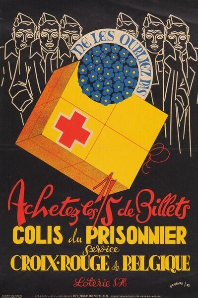 Ne les oubliez pas. Achetez les 1/5 de billets. Colis du prisonnier. Service Croix-Rouge de Belgique. Loterie SH