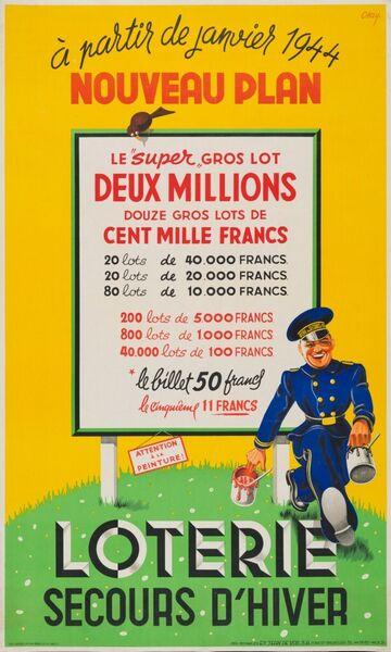 A partir de janvier 1944. Nouveau Plan. Loterie Secours d'hiver