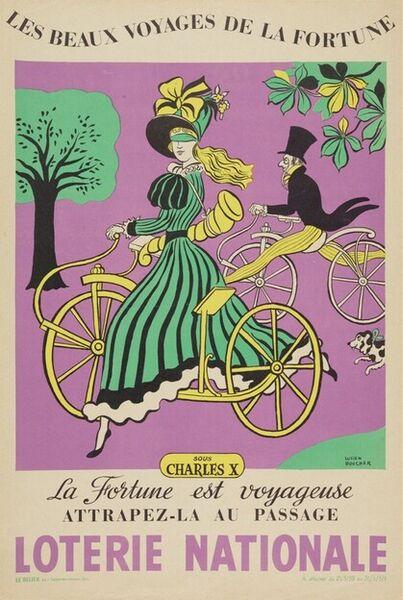 Les beaux voyages de la Fortune sous Charles X. La Fortune est voyageuse, attrapez-la au passage. Loterie Nationale