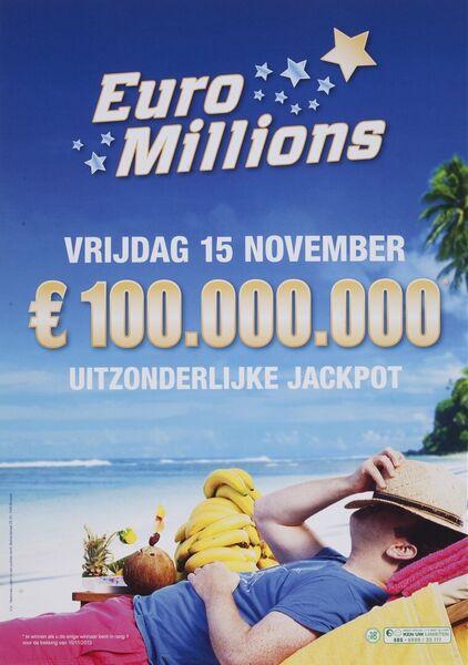 Vrijdag 15 november € 100.000.000 uitzonderlijke jackpot