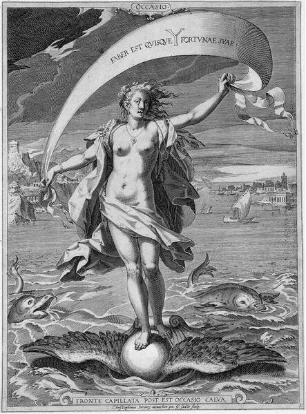 Occasio-Fortuna op een gevleugelde globe