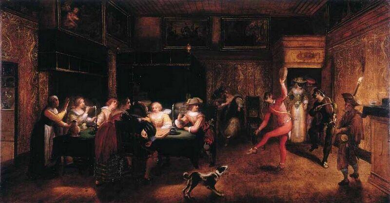 Banquet nocturne avec compagnie jouant au trictrac et mascarade