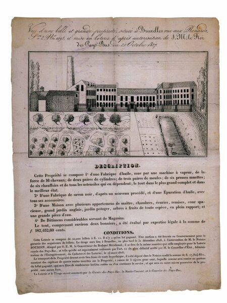 Vue d'une belle et grande propriété, située à Bruxelles rue aux Renards, S.on. 2 ,N° 1095, et mise en loterie d'après autorisation de S.M. le Roi des Pays-Bas du 21 Octobre 1827.