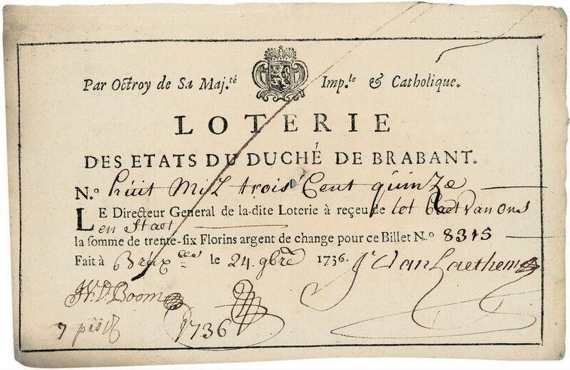 Billet de la Loterie des Etats du Duché de Brabant