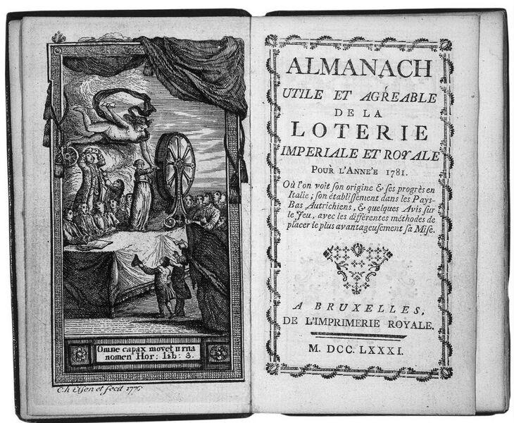 Fortune tirant un billet d'une roue de loterie, 1776, gravure et frontispice de l'Almanach utile et agréable de la Loterie Impériale et Royale pour l'année 1781, Bruxelles, Imprimerie Royale, 1781, [5], 68 p.