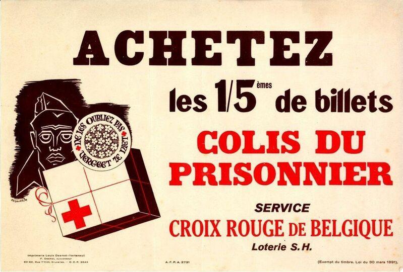 Achetez les 1/5èmes de billets. Colis du prisonnier. Service Croix Rouge de Belgique. Loterie S.H.