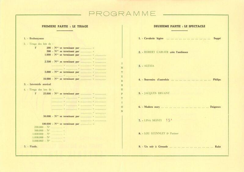 Tirage de la deuxième tranche 1962 de la Loterie Africaine. Programme