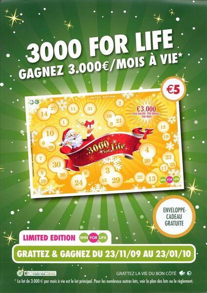 3000 for Life. Gagnez 3.000 €/mois à vie.