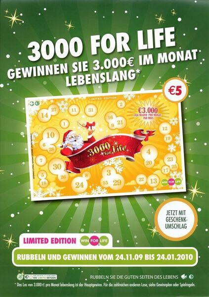 3000 for Life. Gewinnen Sie 3.000 € im Monat lebenslang.