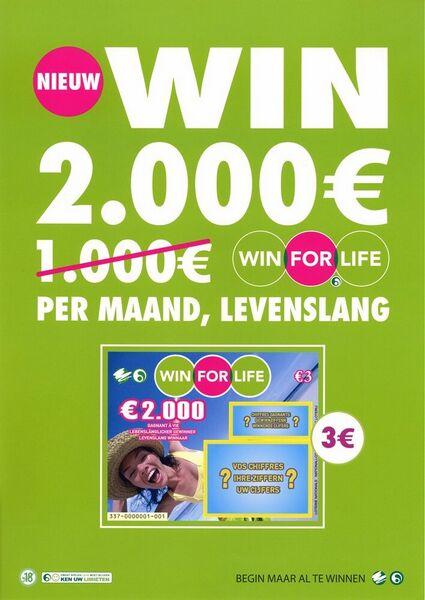 Nieuw. Win 2.000 €  per maand, levenslang.