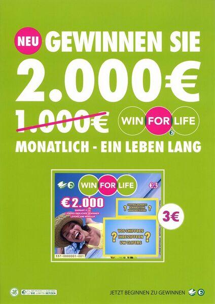 Neu. Gewinnen Sie 2.000 € monatlich - ein Leben lang.