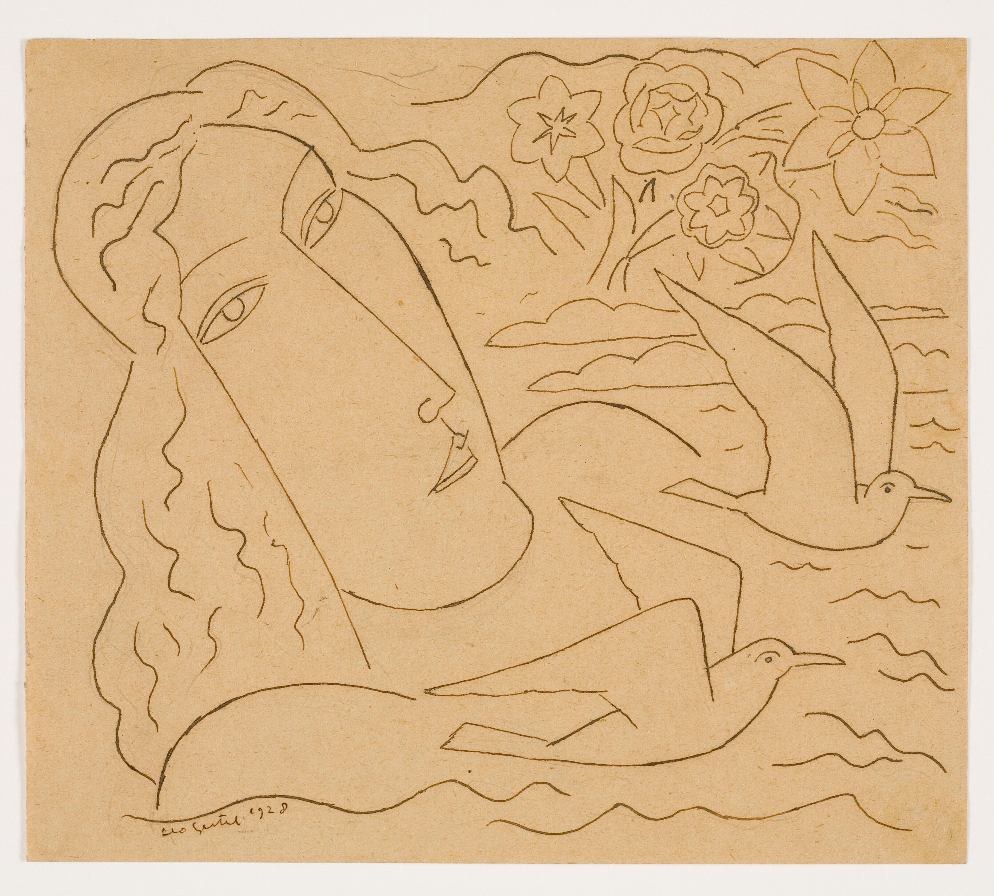 Vrouw in het water met meeuwen en bloemen